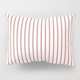 Camellia Pink Pinstripe on White Pillow Sham