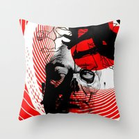 psycho Throw Pillows featuring psycho by RIGOLEONART