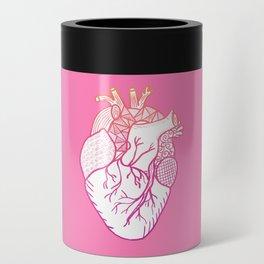 Designer Heart Pink Background Can Cooler