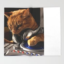 DJ Cat Throw Blanket