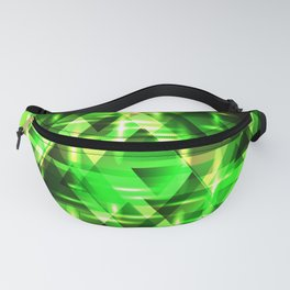 Spring gentle green horizontal strict stripes of sparkling grass triangles. Fanny Pack