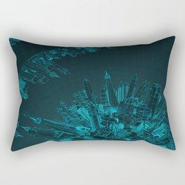 Future City Blue Rectangular Pillow