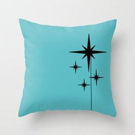 Atomic Age Retro 1950s Starburst in Black and 50s Turquoise Throw Pillow