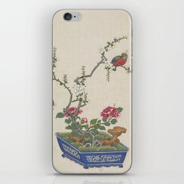 Vintage Chinese Bonsai Botanical Ink and Brush Painting-Flowers and Birds iPhone Skin