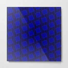 Blue Square Pattern Metal Print