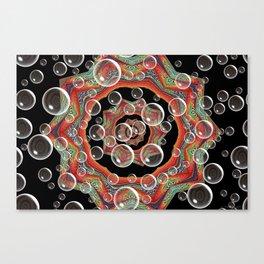 Black Orange Bubbles Canvas Print