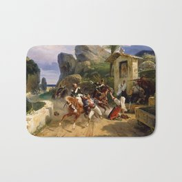 Classical Masterpiece Italian Brigands Surprised by Papal Troops by Horace Vernet Bath Mat