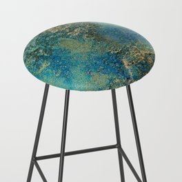 Blue And Gold Modern Abstract Art Painting Bar Stool