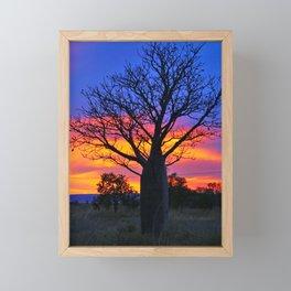 Pink and Purple Sky behind Boab Framed Mini Art Print