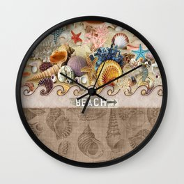 Beachcombers Seashell Paradise Wall Clock