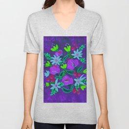 Lavender Magenta Blooms Unisex V-Neck