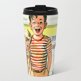 Vintage Illustration of Three Kids Travel Mug