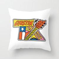 austin Throw Pillows featuring Austin TX by Brandon Ortwein