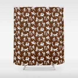 Greek Figures // Brown Shower Curtain