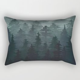 Foggy Treeline Rectangular Pillow