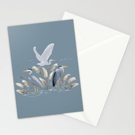 Great Blue Heron - Blue and Gray Stationery Cards