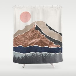 Mount Hood // Daylight Art Print Oregon Stratovolcano Rose Gold Silver Blue Cream Black Mountain Shower Curtain