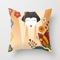 geisha Throw Pillows featuring Geisha  by Ashley Hay