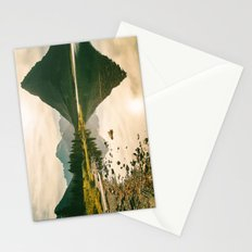 Mountain Reflecting the Lake in Many Glacier  Stationery Cards