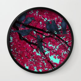 autumn crows, red maple Wall Clock