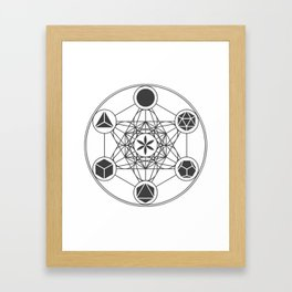 Metatron's Cube with Platonic Solids and Seed of Life Framed Art Print