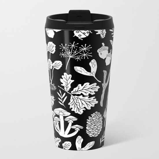 Linocut minimal botanical boho feathers nature inspired scandi black and white art Metal Travel Mug