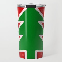 Christmas Tree on Red Background With Snowflakes Travel Mug