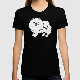 White Pomeranian Dog Cute Cartoon Illustration T-shirt