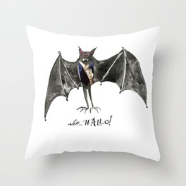 Halloween Welcome to the Ball Vampire Bat Greeting Card Throw Pillow