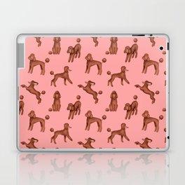 Chocolate Poodles Pattern (Pink Background) Laptop & iPad Skin