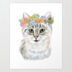 Gray Tabby Cat Floral Wreath Watercolor Art Print