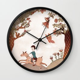 magical forest boy Wall Clock