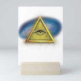 Illuminati Symbol Galaxy Masonic Triangle Conspiracy Gift Mini Art Print