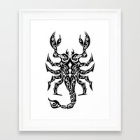 scorpio Framed Art Prints featuring Scorpio by Mario Sayavedra