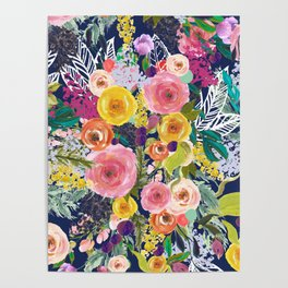 Autumn Blooms Colorful Painted Floral Print // Navy Poster