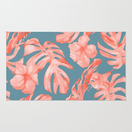 Island Life Coral On Deep Teal Blue Rug By Simple Luxe