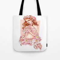 shield Tote Bags featuring Shield by Raquel Amo Art
