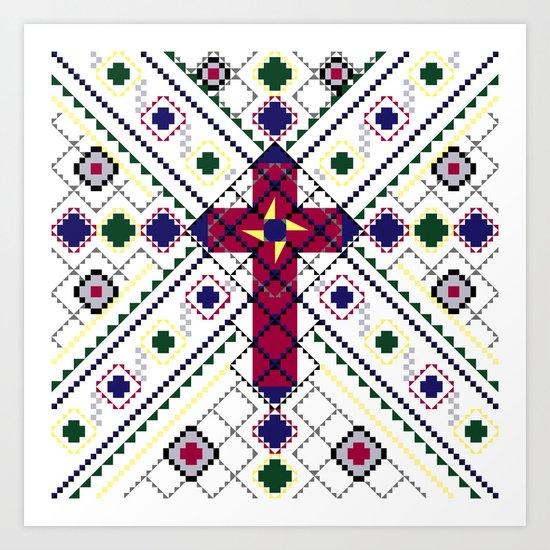 Tribal Cross Art Print