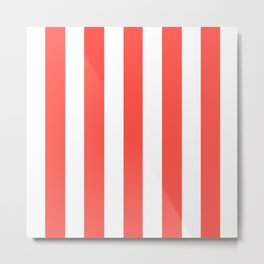Orange-red (Crayola) - solid color - white vertical lines pattern Metal Print