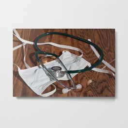 Stethoscope and Surgical Mask Metal Print