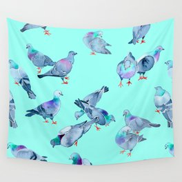 Flock of Pigeons (Blue) Wall Tapestry