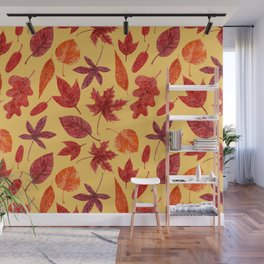 Red autumn leaves watercolor Wall Mural