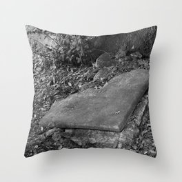 broken old grave on the green Throw Pillow