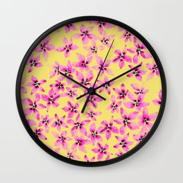 Pink floral pattern on pastel yellow background in watercolor  Wall Clock