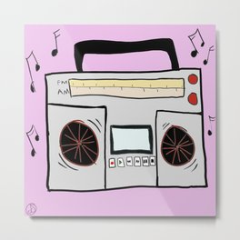 Old School Stereo Boombox with Cassette Player Drawing Metal Print