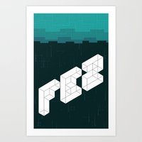fez Art Prints featuring FEZ poster by Reed Erlandson
