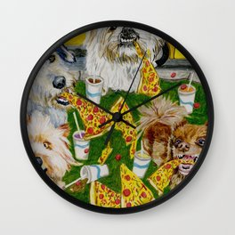 Canines Feast On New York Pizza Wall Clock