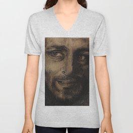 Underworld film. Coal portrait of lycan Lucian. actor Michael Sheen. Портрет углем ликана Люциана Unisex V-Neck