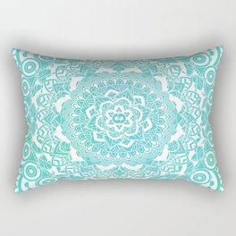 Sea Green Ombre, Indian Mandala Pattern Rectangular Pillow