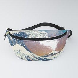 Great Wave Off Kanagawa Surrealism-Mount Fuji Eruption and Starry Sky Fanny Pack